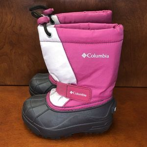 Girl's Columbia Pink/White Snow Boots Size 8